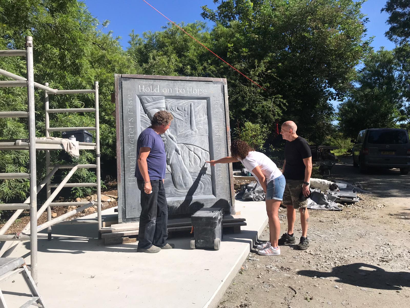 Cornish slate sculpture in progress