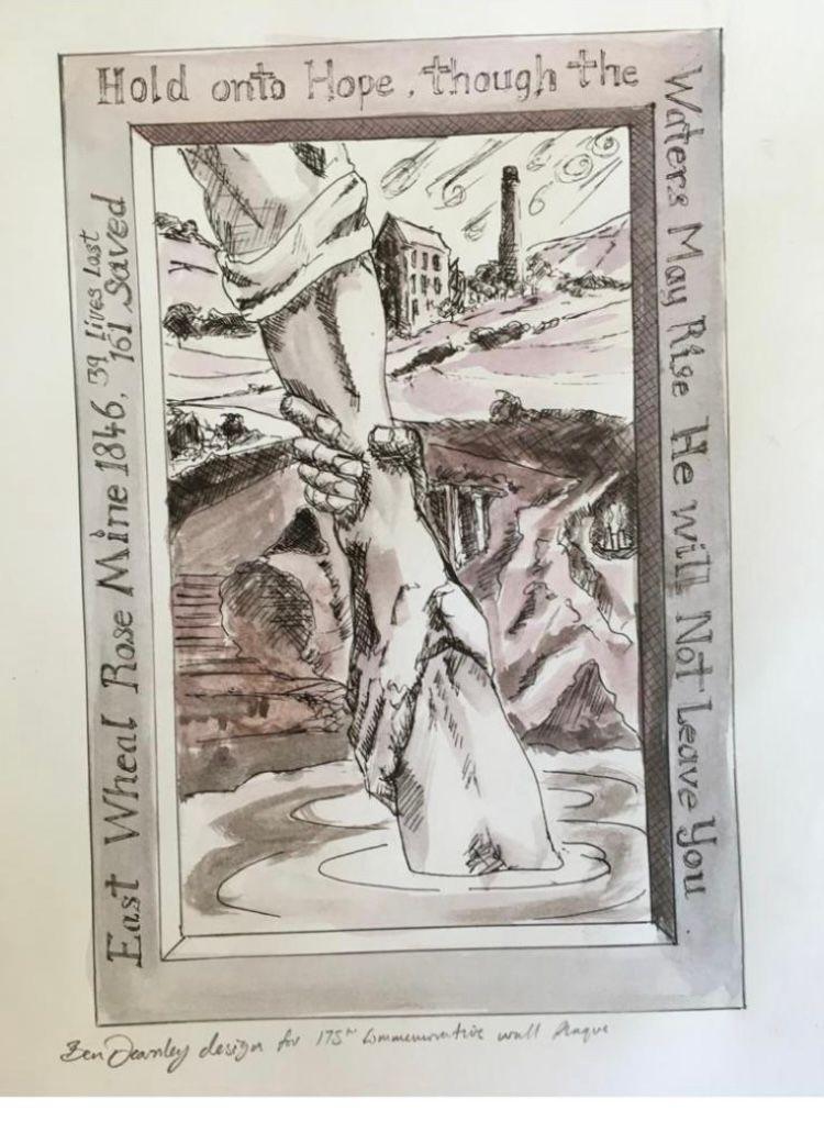 initial sketch of scultpture for East Wheal Rose Memorial