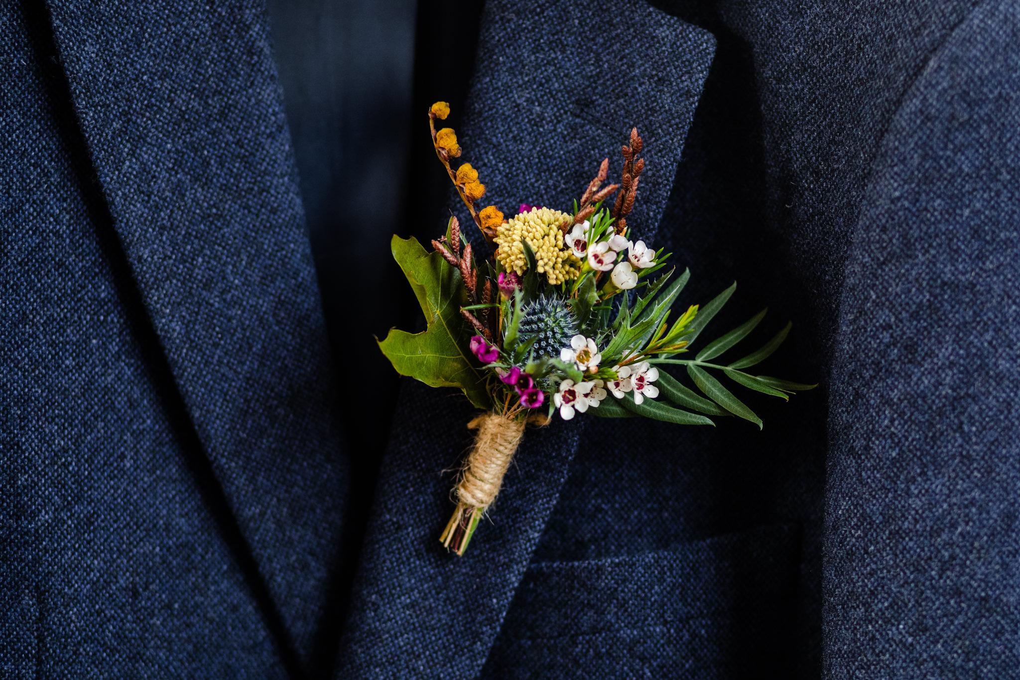 autumn colours wedding buttonhole