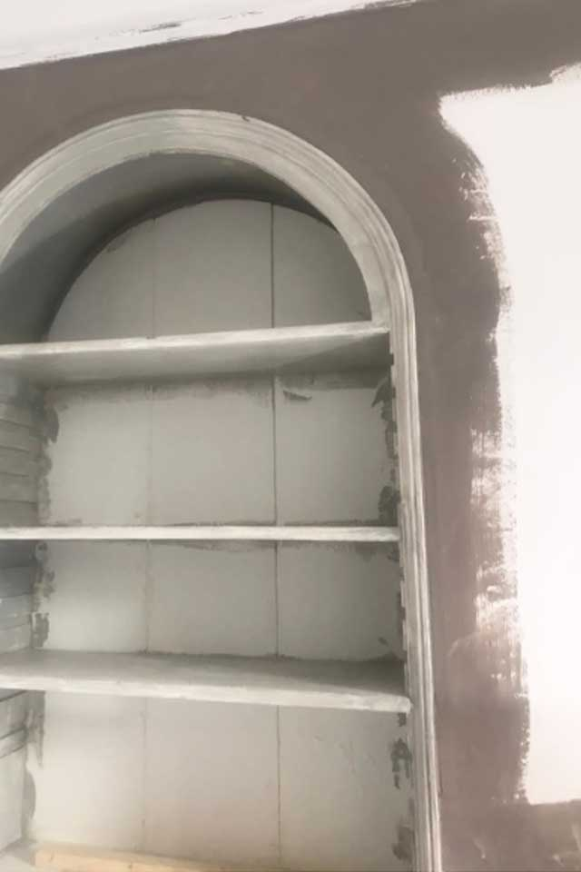 period built in shelves being painted grey