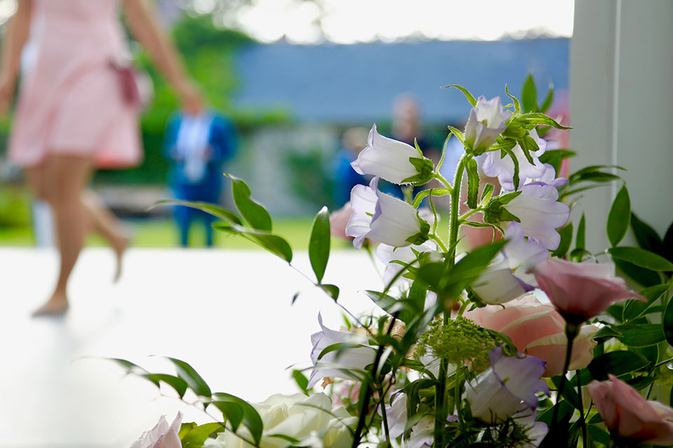 outdoor wedding with pink flowers