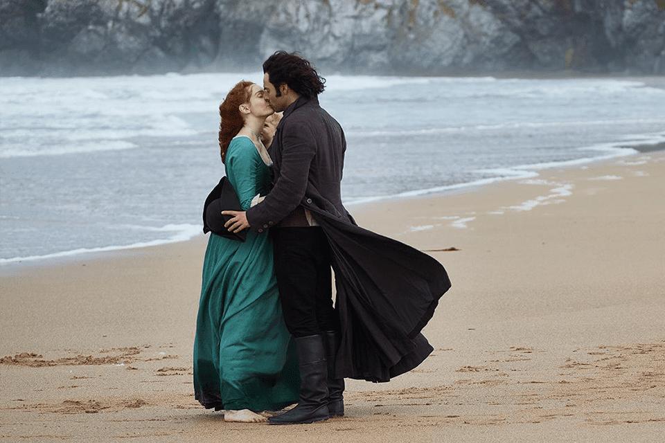 Ross and Demelza Poldark on beach