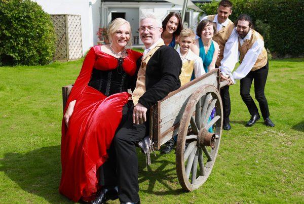 Poldark wedding party in wagon
