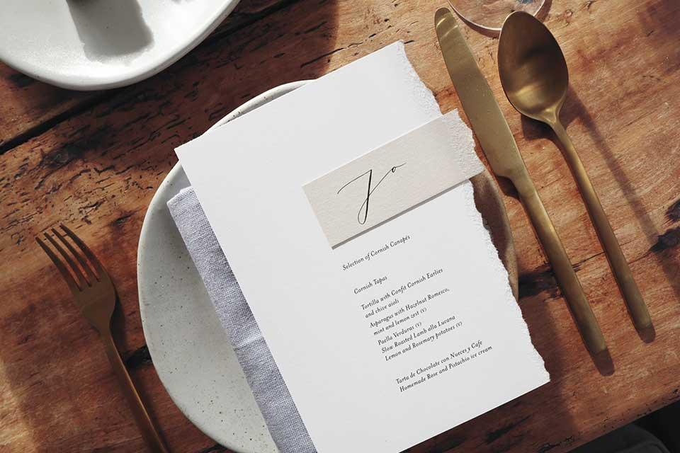 wedding menu and name place setting