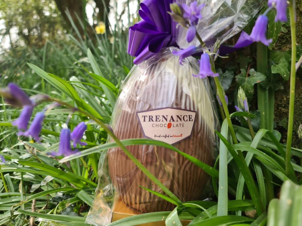 Trenance chocolate Easter egg in Treseren gardens
