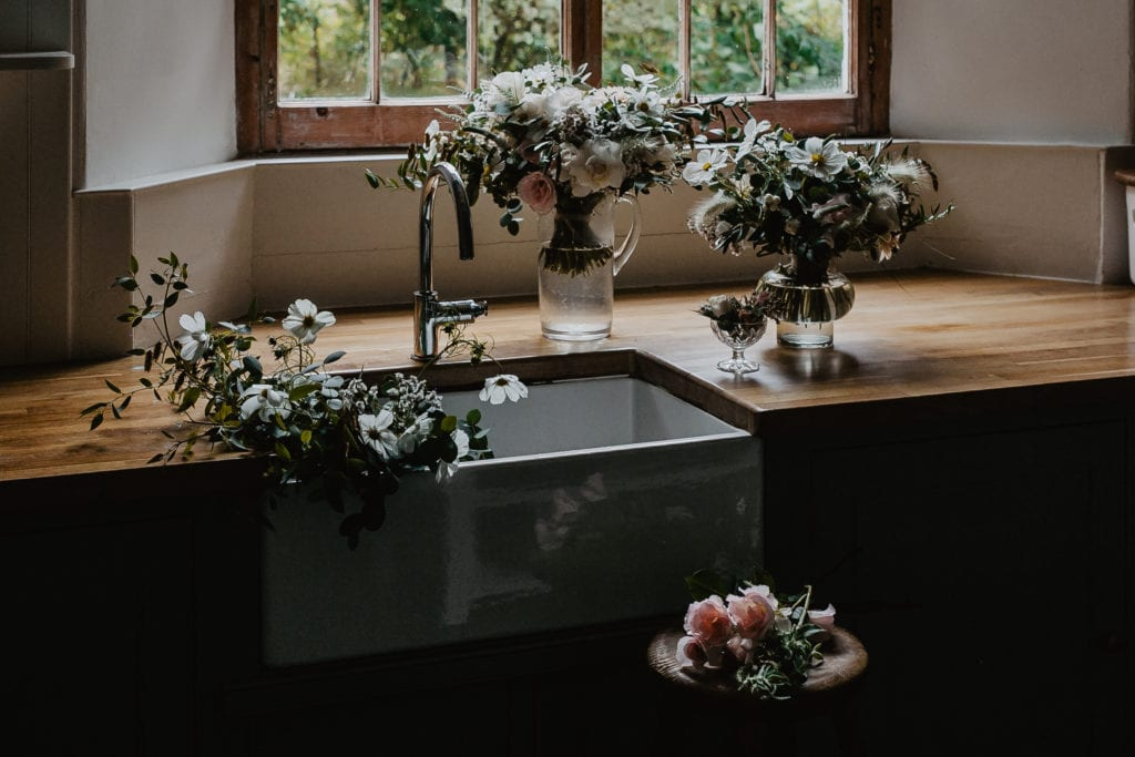 wedding flowers in butler sink