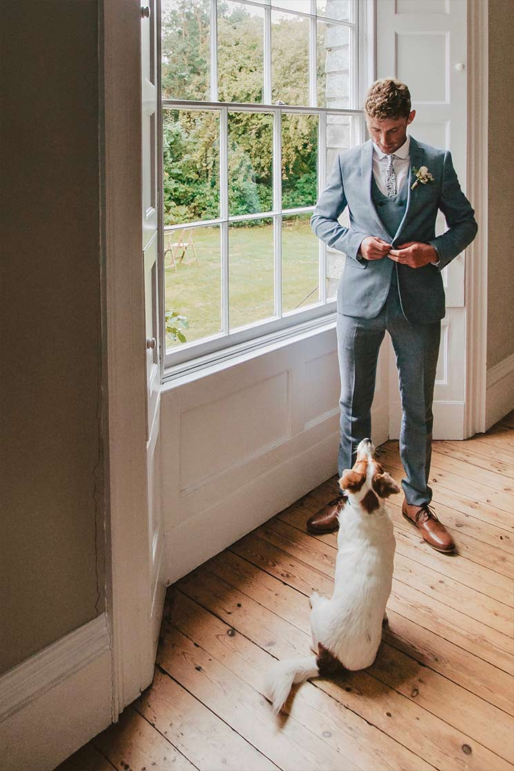 Groom in wedding suit stood in bay window small dog looking up at him