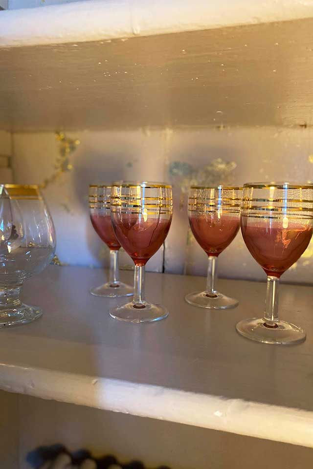 decorative pink and gold vintage small glasses