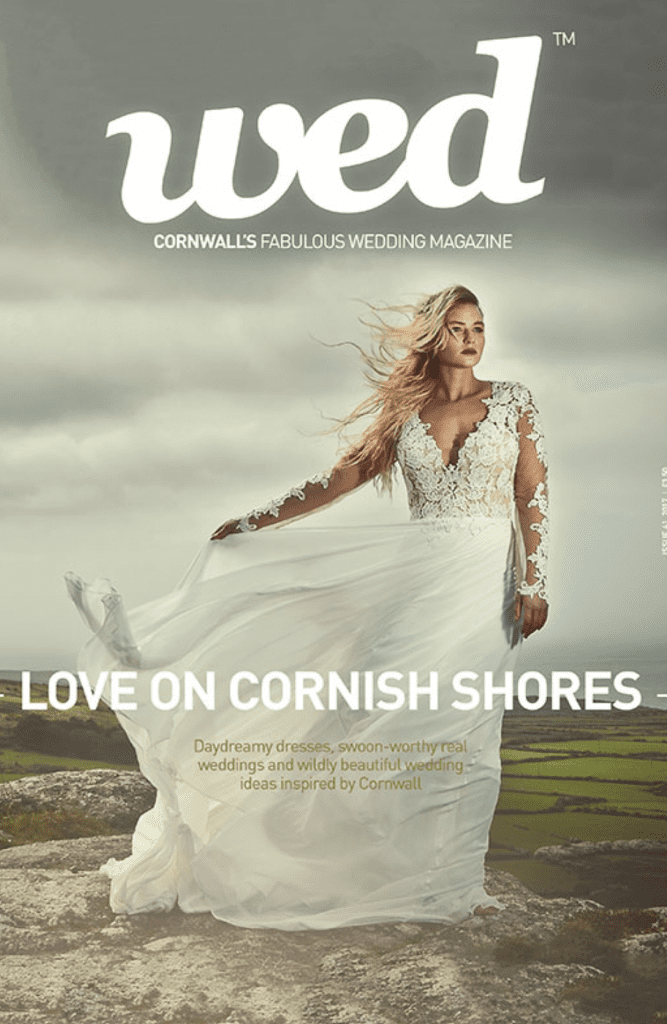 front cover of Cornish Wed magazine bride in dress