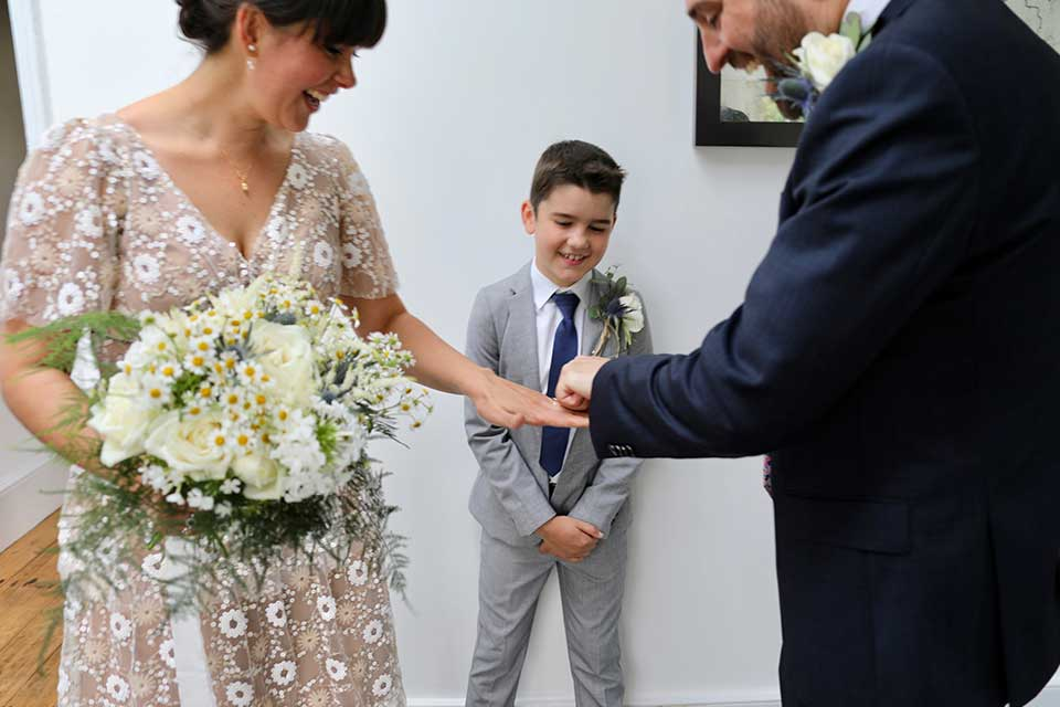 Valentine's Day Wedding Inspiration exchanging rings