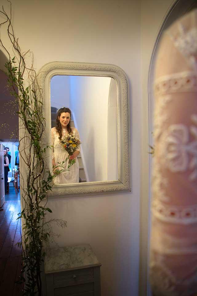 nervous bride about to make her entrance