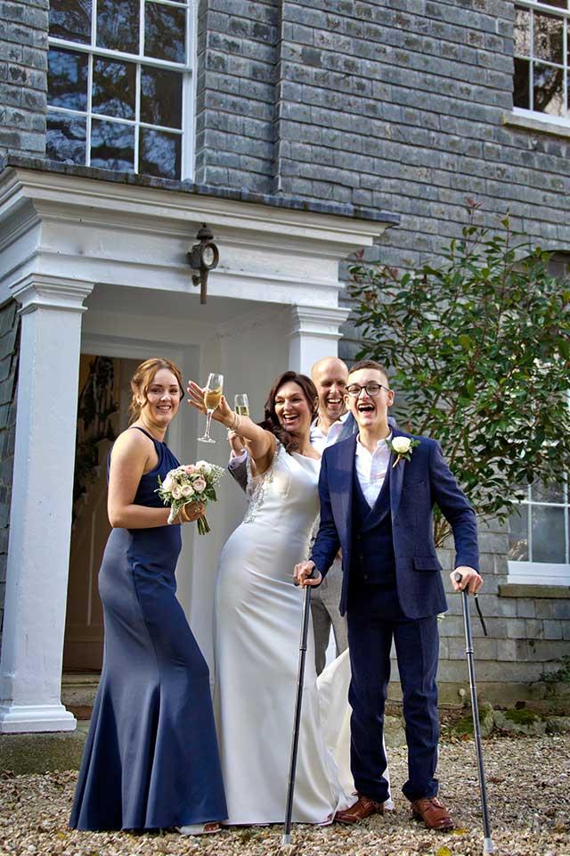small family wedding happy