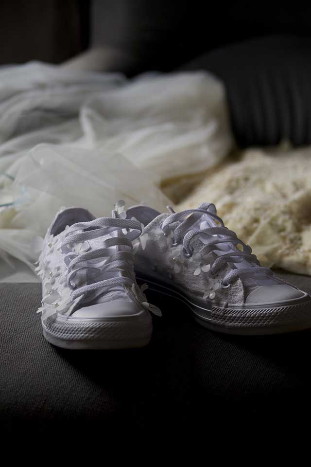 white sequinned brides wedding trainers