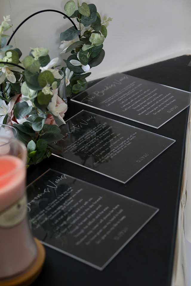 wedding vows etched on perspex