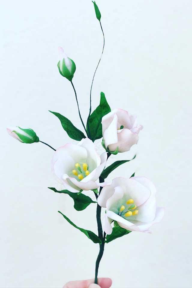 white handcrafted sugar flower