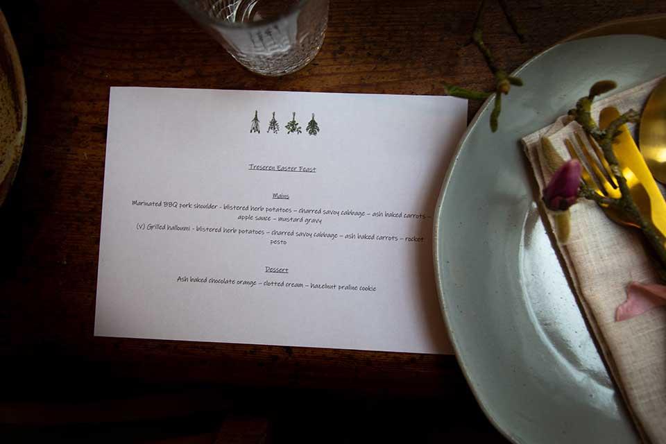 Cornwall wedding meal menu Chef Natasha
